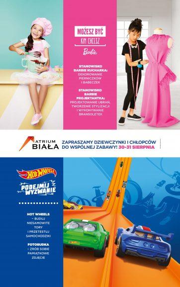 30 – 31 sierpnia wspólna zabawa z Hot Wheels i Barbie w Atrium Biała
