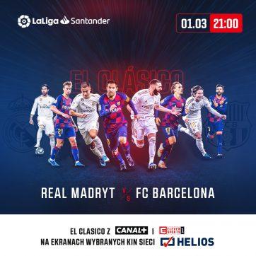 El Clasico. Real Madryt – FC Barcelona. Czas więc na najgorętsze piłkarskie starcie tej zimy! Zapraszamy na transmisję meczu do kina Helios!